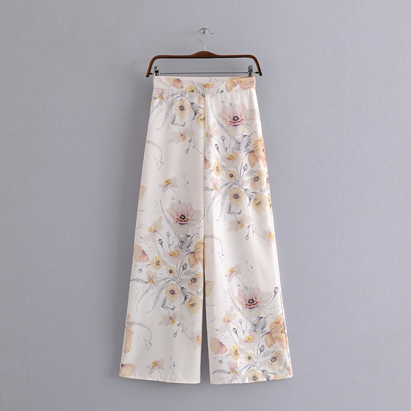 High Waist Floral Print Loose Long Palazzo   Pants   2019 Summer Women Beach Trousers   Wide     Leg     Pants