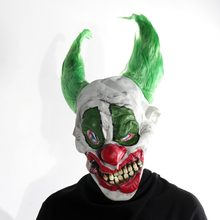 H & D Male Spaventoso Demented Psycho Clown Maschera In Lattice Con Verde Dei Capelli Horror Hallowen Costume Maschere di Carnevale(China)