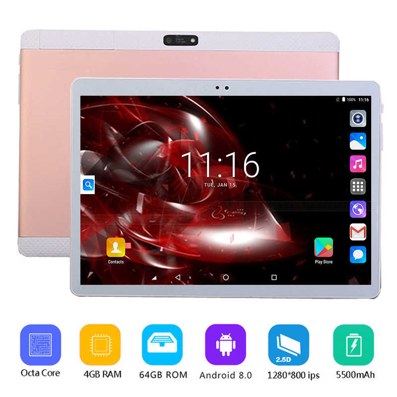 Global envío nuevo Google tablet PC de 10 pulgadas 3G 4G LTE Android 8,0 Octa Core 8 núcleos 4GB RAM 64GB ROM WiFi GPS 10,1*1280*800 IPS