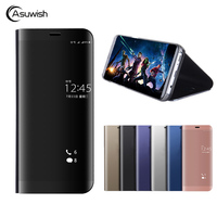 Asuwish Smart Flip Cover Leather Case For Huawei Honor V10 V 10 HonorV10 Phone Case Luxury