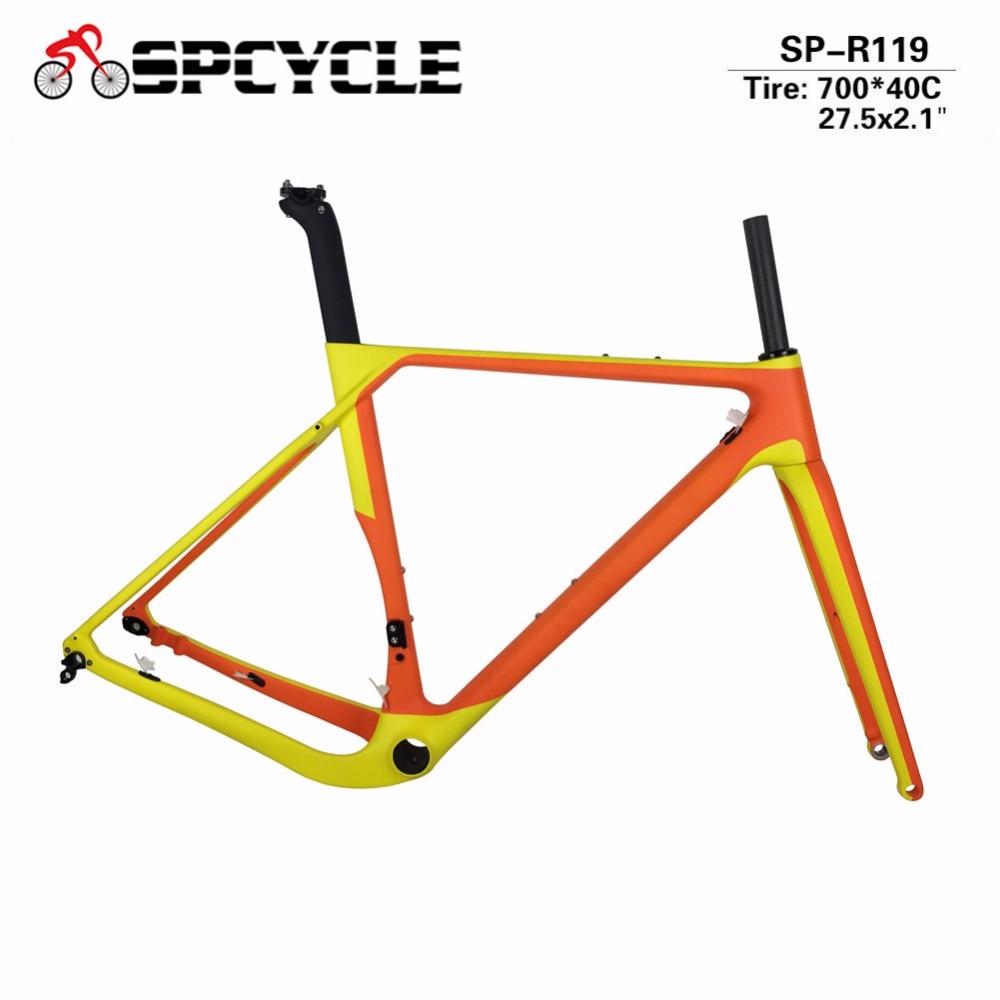Spcycle Cyclocross Bicycle Carbon Frames Gravel Bike Carbon Frames ,Disc Brake Road Frames Thru Axle 142*12mm Or 135*9mm QR
