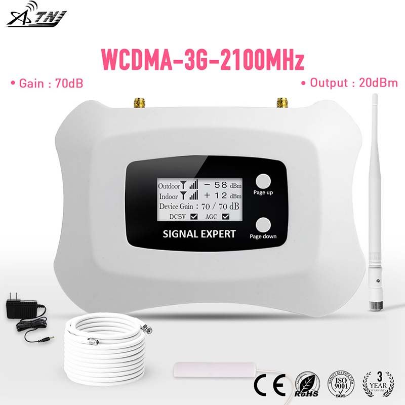ÉCRAN LCD! Mini amplificateur intelligent de téléphone portable 2100 MHz 3G répétiteur 3G UMTS kit amplificateur de signal cellulaire 3G pour 3G