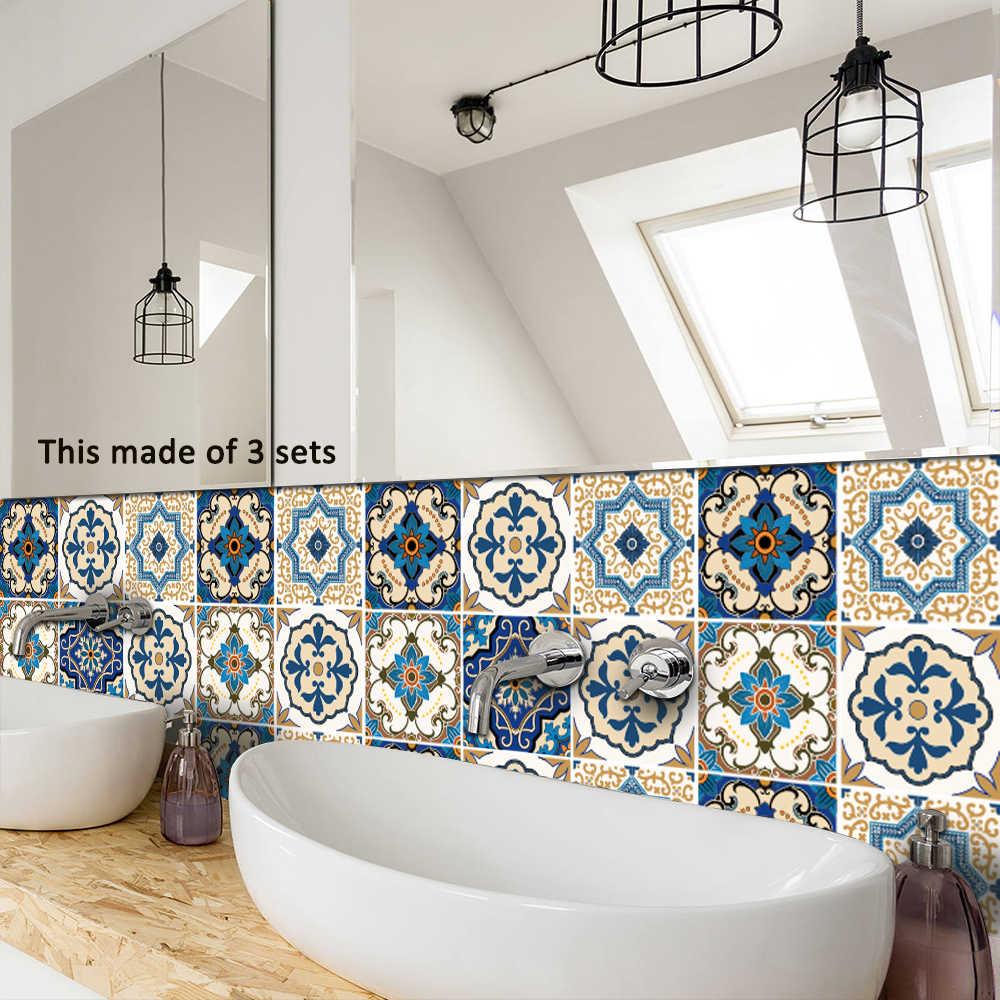 Funlife 15*15 cm/20*20 cm Marokkaanse Tegels PVC Waterdichte zelfklevende Behang Meubels Badkamer DIY arabische Tegel Sticker