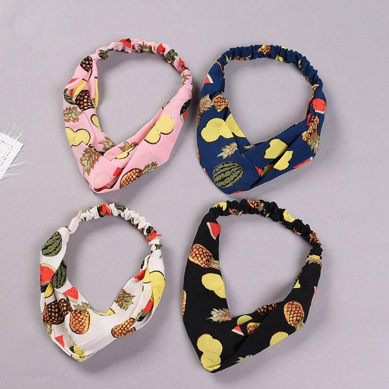 Cute Women Elastic Cotton Headband Summer Fruit Print   Headwear   Lovely Girls Hairband Soft Headwrap Hair Bow Band Accessories