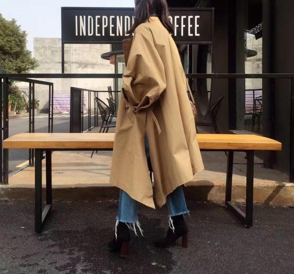 Manteaux khaki Femmes Lacent À Longues Black Coton Lanterne Pardessus Trench Manches Hem Coupe vent Getsring Irrégulière Femelle Long Automne EUCqq