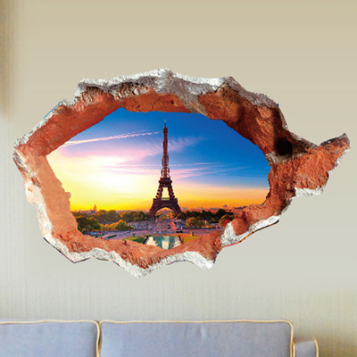 3D Paris Eiffel Tower Wall Sticker Through Brick Decal Kids Room Decor Wall Stickers Home Removable Wallpaper Decor