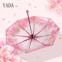 YADA PVC Transparent Cherry Blossom Umbrella Rain Women Environmental Protection For Windproof Umbrellas YS238