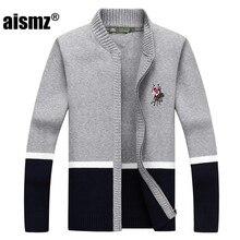 Aismz hombres suéteres 2018 Otoño Invierno nueva moda Simple Cardigan hombres  suéter de cuello ropa Sueter Hombre con cremallera 4d57b6e176be