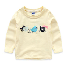 2016 New Next Spring Fall Girls Full Sleeve Kids T-Shirts Cotton Comfortable Cartoon Pretty Children's Clothing Cat Print Tees