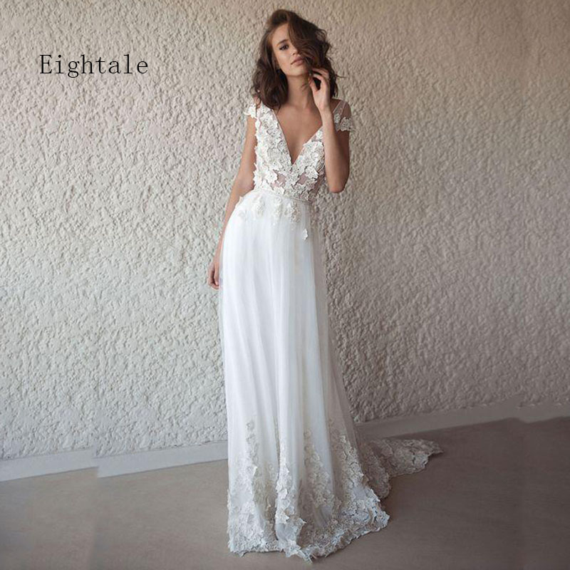 Eightale Boho Wedding Dress 2019 Appliques V Neck Bridal Gown Cap Sleeve Princess Wedding Gown With Small Train Robe De Mariee