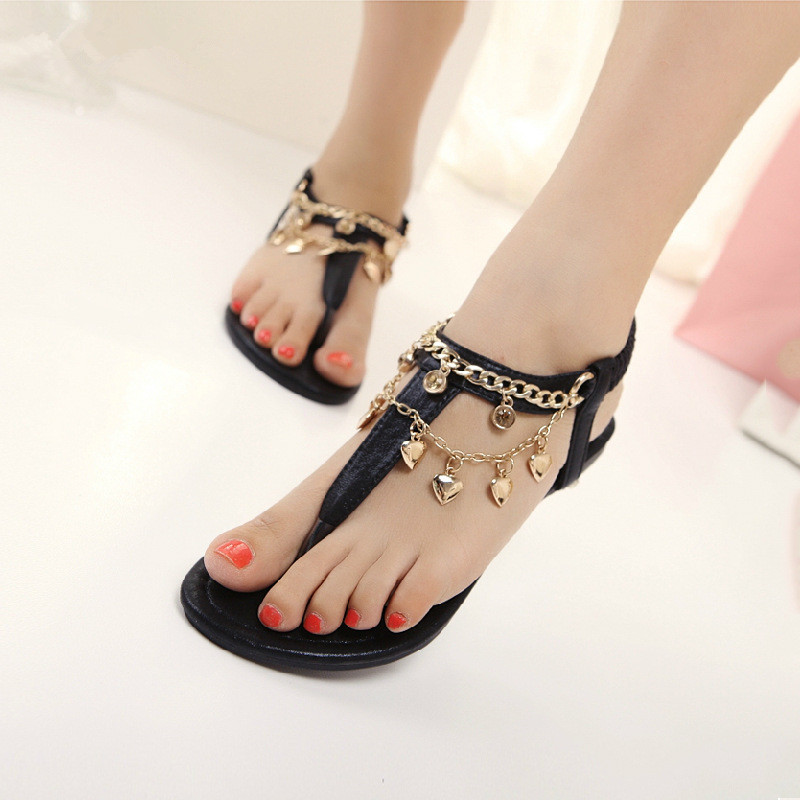 Summer style women rome casual metal decoration rhinestone black gold flip-flops flat heels sandal woman flats sandals shoes F32