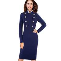 Women Vintage Autumn Winter Long Sleeve Navy Blue Stand Collar Double Breasted Button Business Work Bodycon