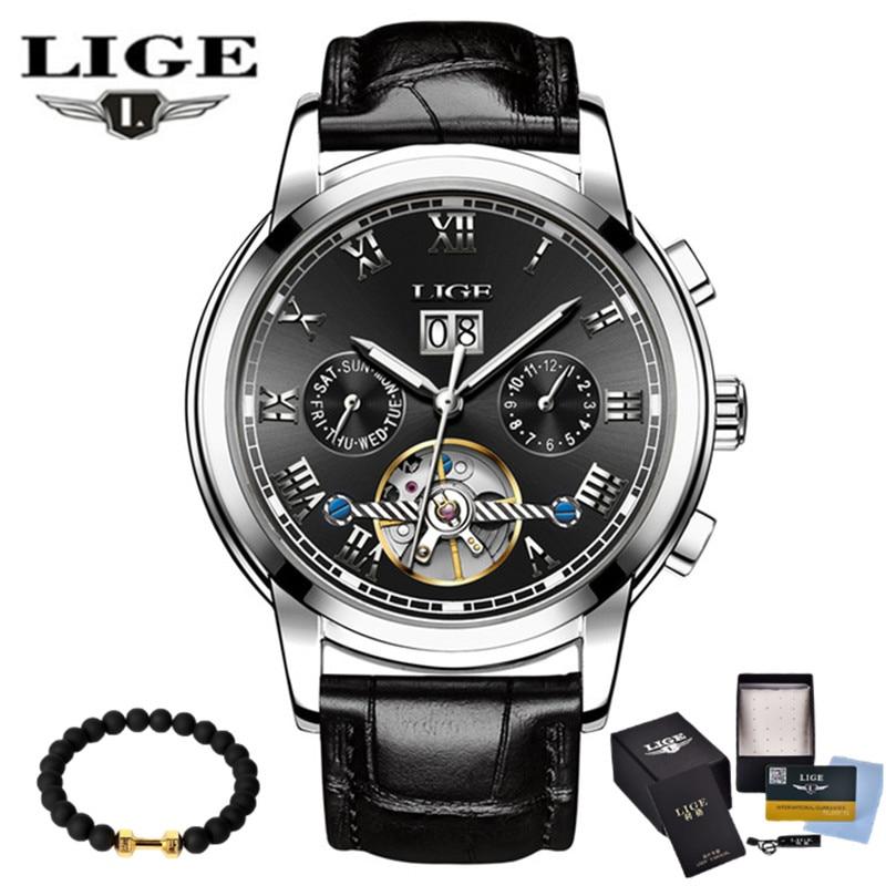 LIGE 2019 nouveau hommes squelette montre-bracelet en acier inoxydable Antique Steampunk décontracté montres mécaniques mâle Heren Horloge
