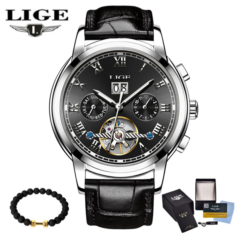Lige 2017 New Men's Skeleton WristWatch Stainless steel Antique Steampunk Casual Automatic Mechanical Watches Male Heren Horloge