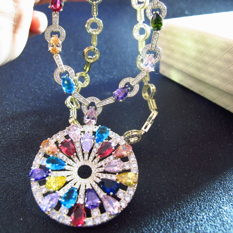purple blue pink red cubic Zircon crystal geometric pendants party jewelry anime gold color necklaces for