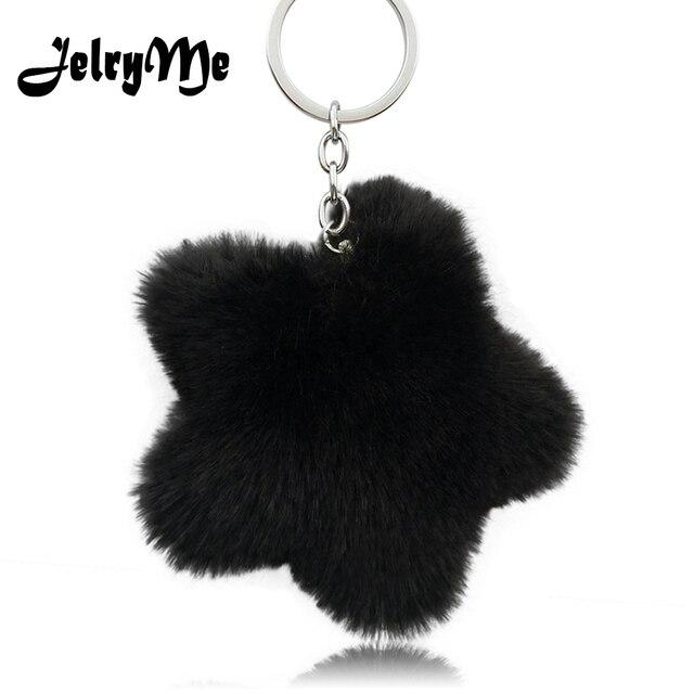 New Fluffy Star Keychain For Female Faux Rabbit Fur Pompom Keyring Women  Charms Bag Car Key 4e48249bcd7a7