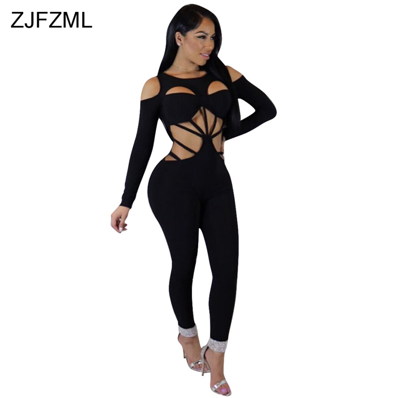 ZJFZML 2018 Hollow Out Sexy Skinny Jumpsuit Women Black Off The Shoulder Long Sleeve Bandage Romper Back Zipper Long Bodysuit ...