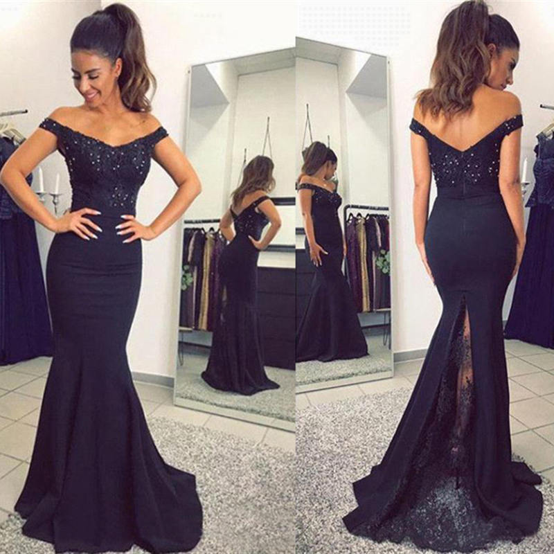 Black Off The Shoulder Satin Mermaid Long   Prom     Dresses   Lace Applique Beaded Sweep Train Formal Party Evening Gowns