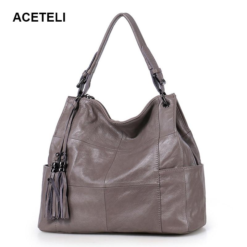 ACETELI Genuine Leather Handbag Luxury Handbags Women Bags Designer Shoulder Bag Ladies Female Luxury Bags Women's Fashion philips saeco hd 8946