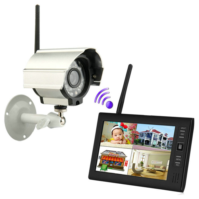 Free Shipping! 7 inch 2.4G LCD Monitor Wireless Audio Video Baby Monitors 4CH Quad DVR Security System With IR