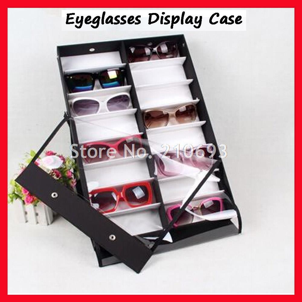 16C auto-debout transparent couverture lunettes de soleil vitrine, vitrine de lunettes, valise, pour tenir 16 pièces de lunettes de soleil