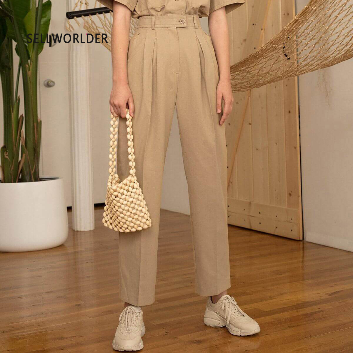 659e5f1401e5 2019 SELLWORLDER nueva moda mujer alta cintura monocromática Safari estilo  pantalones inteligentes
