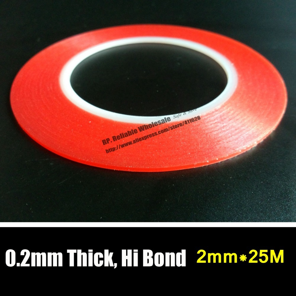 10x (0.2mm Thick) 2mm *25M Strong Clear Acrylic Adhesive Double Sided Tape, No Trace for Phone Display, Battery, Lens Assemble 50 meters roll 0 2mm thick 2mm 50mm choose super strong adhesive double sided sticky tape for cellphone tablet case screen