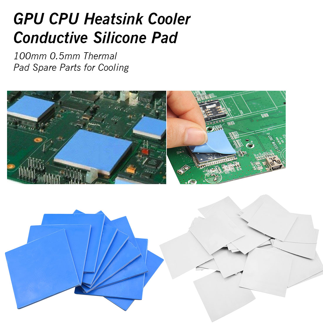 0.5mm*10cm*10cm Thermal Pad Adhesive GPU CPU Conductive Silicone Pads Heatsink Radiator Cooling Heat Sink Cooler For Pc Laptop