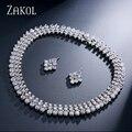 ZAKOL prateado Top Quality Rodada Cubic Zirconia Simulado Diamante Cluster Set Jóias Para As Mulheres Acessórios FSSP058