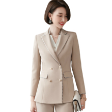 702d7bbfb406cc Kobiet garnitur wiosna jesień anglia elegancki kołnierz marynarki pani  urząd moda do biura na co dzień elegancki płaszcz spodnie.