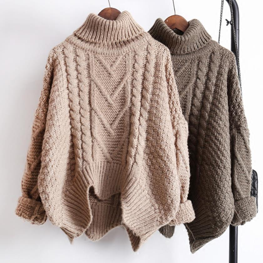 Autumn and winter loose turtleneck Pullover twisted women sweater coarse thickening warm knitted sweater