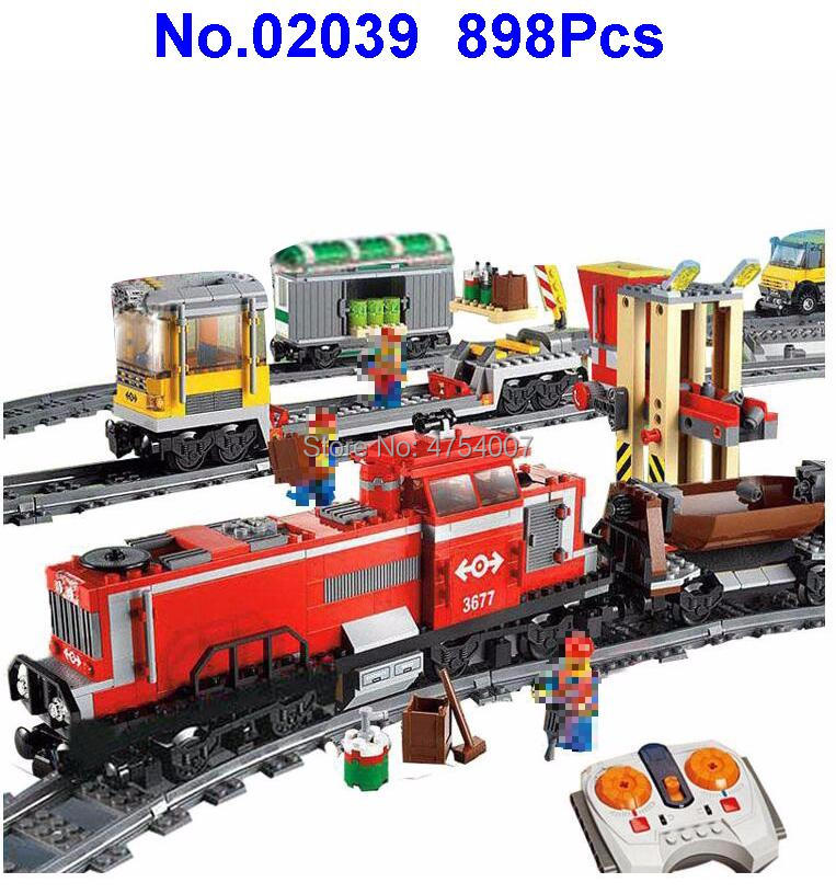 898pcs red cargo train city remote control rc electric building block 3677 Toy