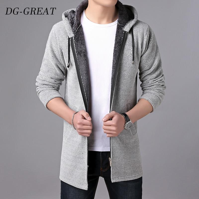 Sweater Men Clothes 2019 Autumn Winter Thick Warm Long Cardigan Men With Hood Sweater Coat  Cotton Liner Zipper Plus Size Coats