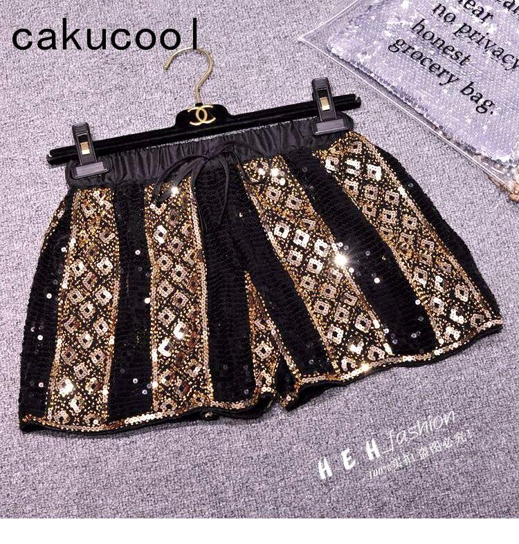 Cakucool New Women Luxury Sequined   Shorts   Chiffon Beading Bling Geometric Pattern   Short   Capris Sexy Vocation Club   Shorts   Femme