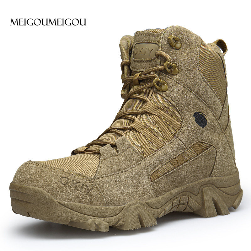 MEIGOUMEIGOU 40-45 Durable Army Boots Men Wear-resisting Rubber Outsole Men Ankle Boots Outdoor Climbing Boots Men Sneakers tênis masculino lançamento 2019