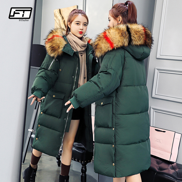Fitaylor Winter Women Long Cotton Parkas Hooded Large Fur Collar
