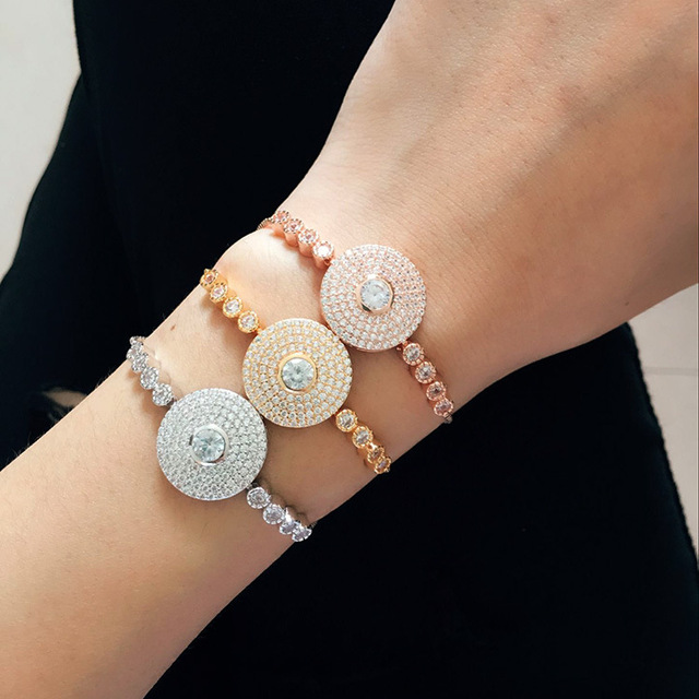 2017 new fashion accessories Middle East style round face full of CZ diamond copper micro adjustable telescopic Bracelet