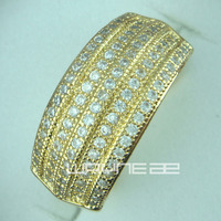18ct זהב GF טבעת אירוסין חתונת נשים מוצק R155 גודל להקה MS