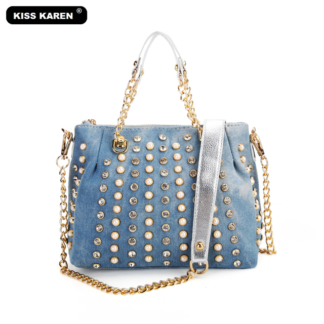 8b5eabbb03 KISS KAREN Luxury Women Purse Fashion Denim Tote Bags Diamond Studs Casual  Tote Jeans Handbag Women s Shoulder Bags