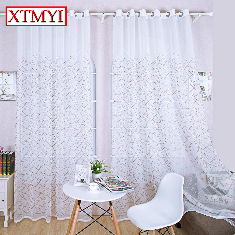 Modern Embroidered Curtains For The Bedroom White Sheer Curtains Tulle  Window Curtains Fabric Drapes(China