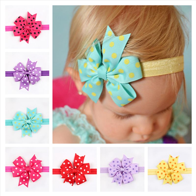 1PC New Arrive Bow Knot Hair bands printing Cartoon Flower Headband little Flower Swallowtail Hair Accessories W073 new 10pcs girls merry christmas headband flower hair elastic bands red hair accessories bow animals pattern ropes ties gift