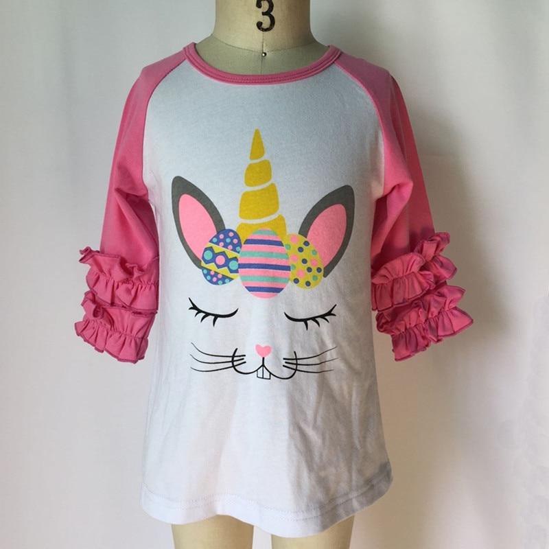 2020 Girls Easter Shirt Raglans Tops Kids Easter Cotton Ruffle Sleeve Bunny Print Tee Shirts Toddler Girls Raglans T shirts 1 6Y|Tees| |  - title=