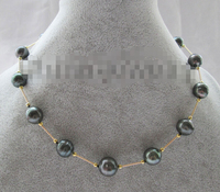 Charming 17 13mm natural baroque south sea water Tahitian pearl necklace plated clasp