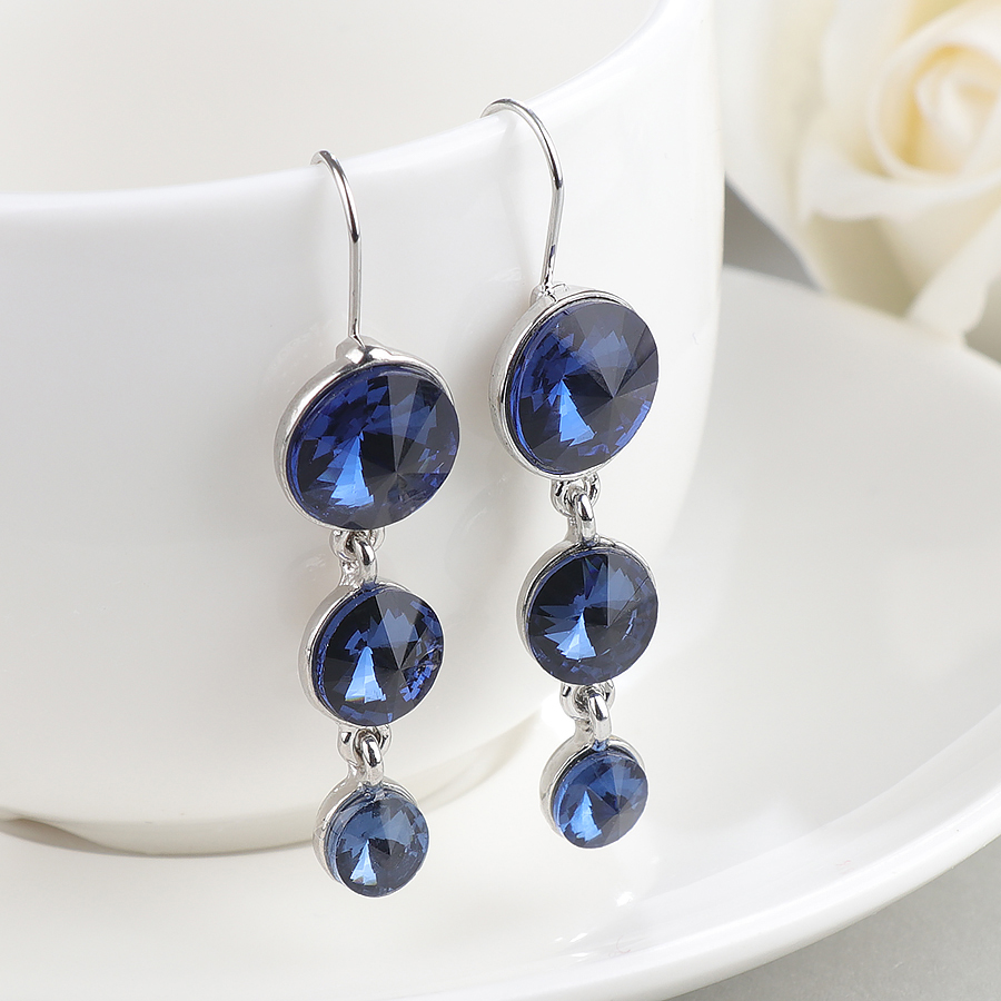 Wbmqda Fashion Long Earrings For Women Blue Round CZ Stone Crystal Dangle Drop Earrings Pendientes Jewelry Wholesale