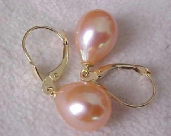 9-10MM AAA PERFECT south sea pink  pearl earrings 14K  GOLD