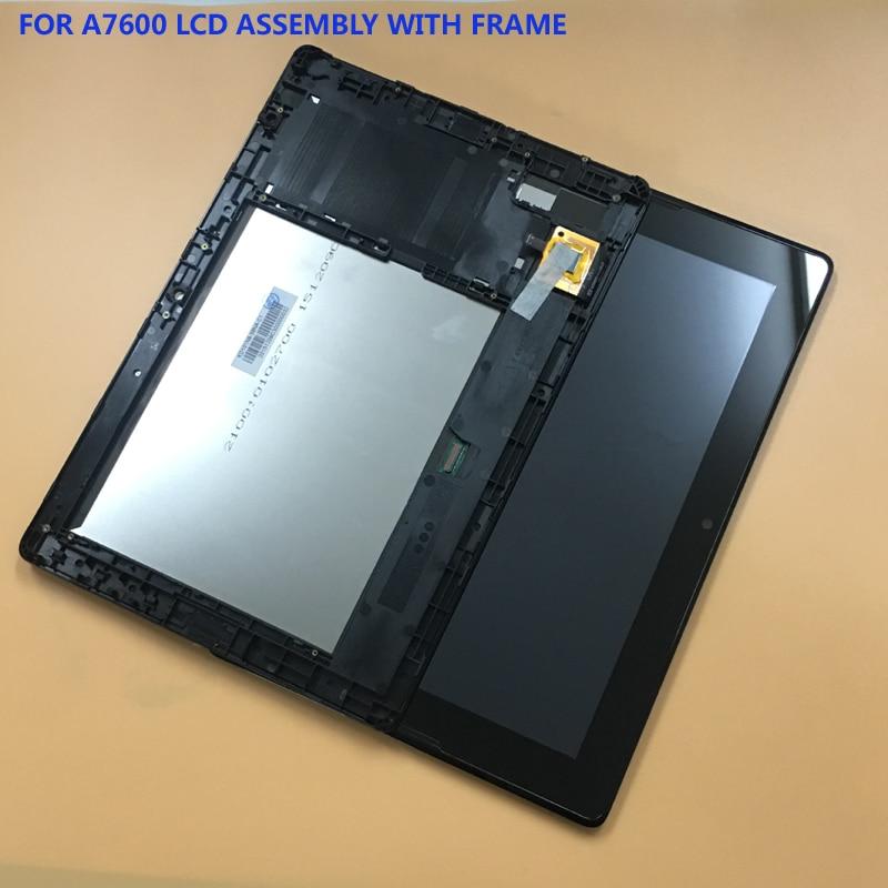 Pour Lenovo Tab A10-70 A7600-H A7600 A7600-F Écran Tactile Digitizer Capteur En Verre + LCD Display Panel Assemblée Silever Cadre