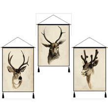 Nodic Animal Elk Print Hanging Painting Wall Art Poster Picture Modern Solid Cotton Wood Livingroom Background Home Decor