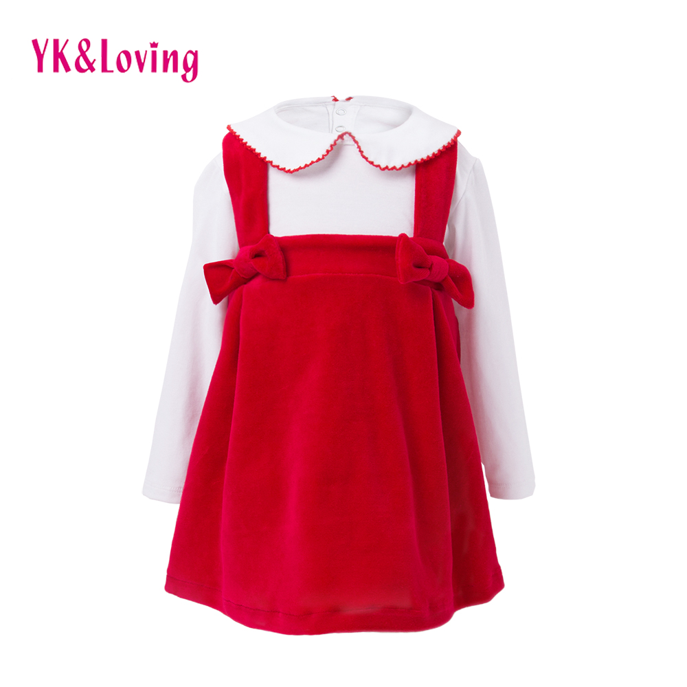 New Children 2-6T Clothing Sets 2018 Autumn/Winter Christmas Cotton Long sleeve shirts + Red Suspender Skirt Baby Clothes Suits цена и фото