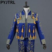 (Jacket+Pants+Vest) Men's Classic Royal Court Red Suit Stage Wear Show Suits Spain Bullfight Dance Costume Gold Tuxedo Jacket