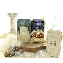 цена на Led Light Diy Miniature Scene Wooden Miniature Theater Puzzle Toy Handmade Furniture 3D Doll House Box Toy Birthday Gift Jouet